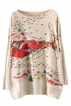 Womens Santa Claus Printed Pullover Ugly Christmas Sweater Red