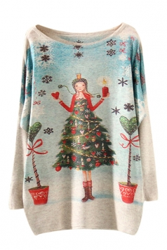 Womens Crewneck Christmas Tree Girl Printed Pullover Sweater Blue