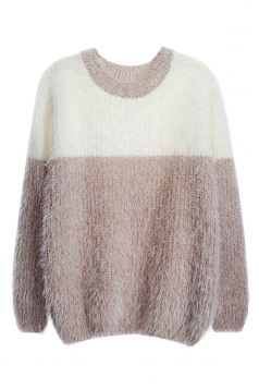 Womens Crew Neck Color Block Mohair Pullover Sweater Coffee