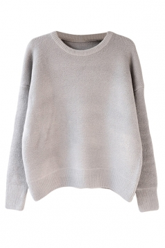 Womens Casual Crewneck Long Sleeve Pullover Sweater Gray