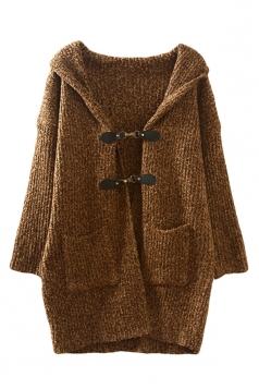 Womens Plain Hooded Hasp Long Sleeve Cardigan Sweater Coat Coffee