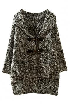 Womens Plain Hooded Hasp Long Sleeve Cardigan Sweater Coat Dark Gray