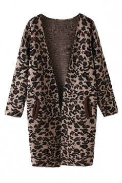 Womens Pretty V Neck Leopard Patterned Cardigan Sweater Brown