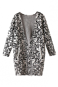 Womens Pretty V Neck Leopard Patterned Cardigan Sweater Gray