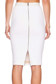 Womens Elegant High Waist Back Zipper Bodycon Pencil Skirt White