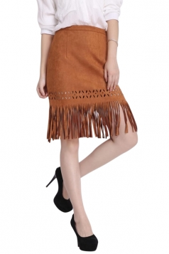 Womens High Waist Tassel Irregular Hem Suede Package Hip Skirt Brown