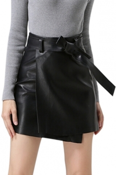 Womens Pretty Sash PU Leather Skirt Black