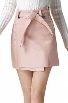Womens Pretty Sash PU Leather Skirt Pink
