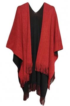 Womens Simple Fringe Shawl Wrap Poncho Red