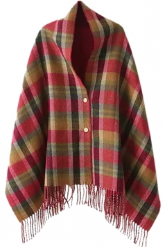 Womens Plaid Fringe Buttons Shawl Poncho Rose Red