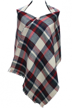 Womens Pretty Double-face Plaid Shawl Poncho Beige White