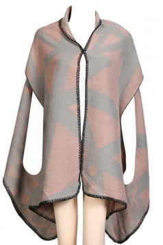 Womens Pretty Exotic Patterned Shawl Poncho Pink
