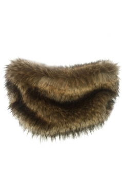 Womens Chic Faux Fur Winter Warm Wrap Scarf Coffee