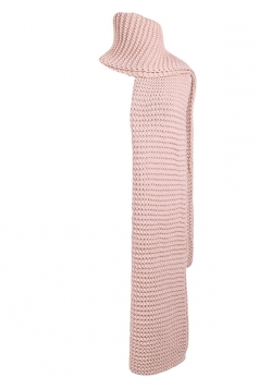 Womens Trendy Warm Long Knitted Scarf Pink