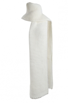 Womens Trendy Warm Long Knitted Scarf White