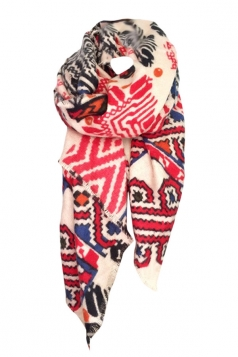 Womens New Printing Large Square Branded Shawl Scarf Red