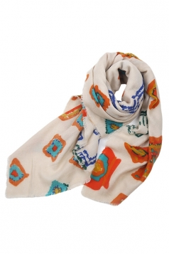Womens Printing Large Square Branded Shawl Scarf White