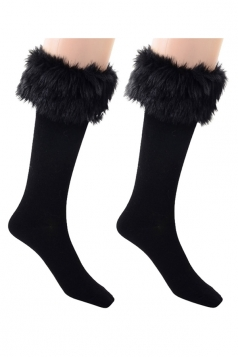 Womens Pretty Fuzzy Socks Black