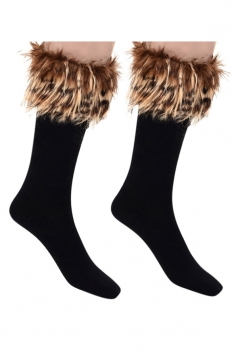 Womens Pretty Fuzzy Socks Brown
