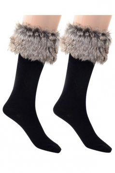 Womens Pretty Fuzzy Socks Gray