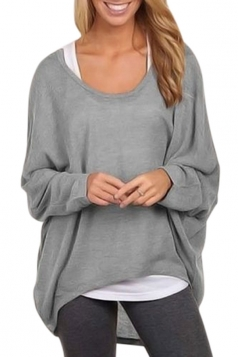 Womens Casual High Low Long Sleeve Tee Shirt Gray