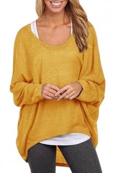 Womens Casual High Low Long Sleeve Tee Shirt Yellow