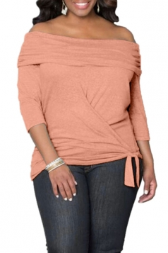 Womens Sexy Off Shoulder Long Sleeve Draped Top Orange
