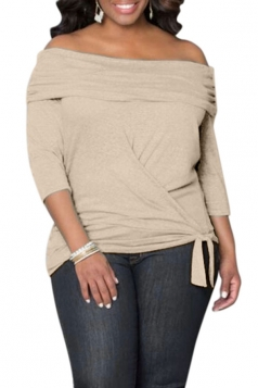 Womens Sexy Off Shoulder Long Sleeve Draped Top Khaki