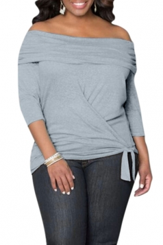 Womens Sexy Off Shoulder Long Sleeve Draped Top Light Gray