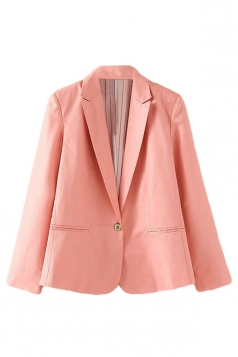 Womens Slim Plain Long Sleeve Lapel Single Button Blazer Pink