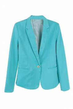 Womens Slim Plain Long Sleeve Lapel Single Button Blazer Turquoise