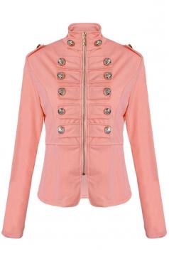Womens Slim Double Breasted Long Sleeve Zipper Jacket Pink