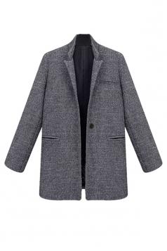 Womens Plus Size Plain Stand Collar Long Sleeve Blazer Dark Grey