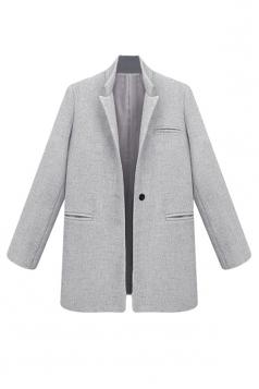 Womens Plus Size Plain Stand Collar Long Sleeve Blazer Light Grey