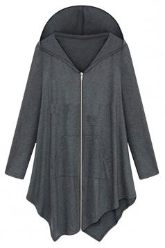 Womens Plus Size Plain Irregular Zipper Long Sleeve Hoodie Dark Grey