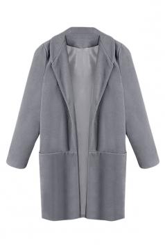 Womens Slim Plain Long Sleeve Turndown Collar Open Front Blazer Gray