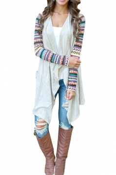 Womens Long Sleeve Ethnic Printed Asymmetrical Cardigan Beige White