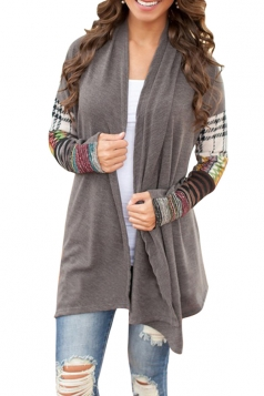 Womens Stylish Printed Long Sleeve Asymmetrical Cardigan Dark Gray