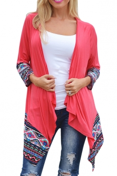 Womens Long Sleeve Ethnic Printed Asymmetrical Cardigan Watermelon Red