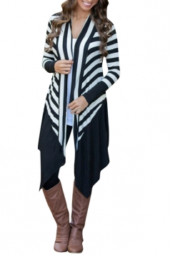 Womens Stylish Long Sleeve Striped Splice Asymmetrical Cardigan Black