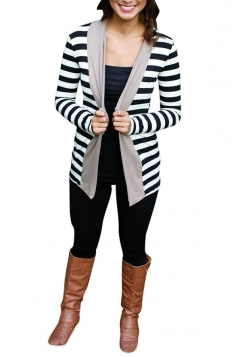 Womens Long Sleeve Striped Color Block Asymmetrical Cardigan Gray