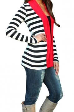 Womens Long Sleeve Striped Color Block Asymmetrical Cardigan Red