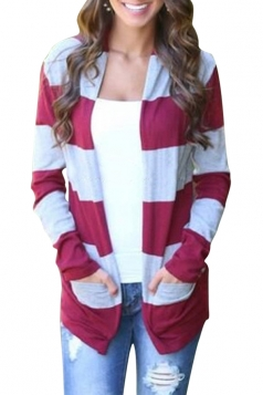 Womens Stylish Striped Splice Long Sleeve Knitted Cardigan Ruby