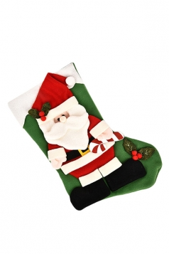 Womens Pretty Santa Claus Applique Christmas Stocking Accessory Green