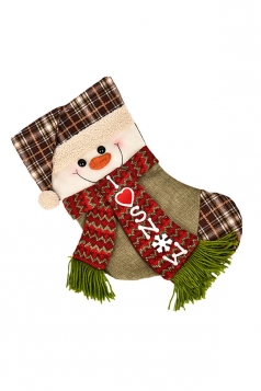 Womens Chic I LOVE SNOW Snowman Christmas Stocking Accessory Green
