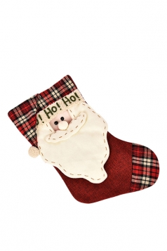 Womens Chic HO HO HO Santa Claus Christmas Stocking Accessory Red