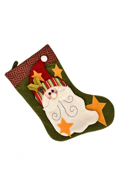 Womens Star Applique Embroider Christmas Stocking Accessory Green