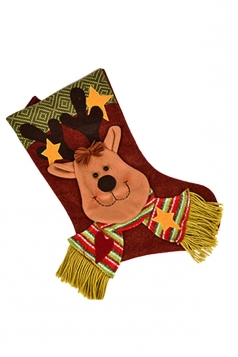 Womens Star Applique Embroider Christmas Stocking Accessory Brown