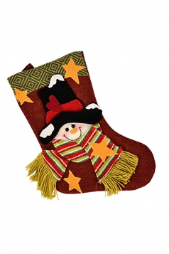 Womens Pretty Star Applique Embroider Christmas Stocking Accessory Red
