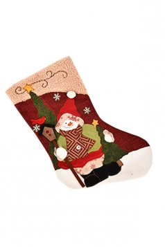 Womens Pretty Christmas Snowman Stocking Accessory Red